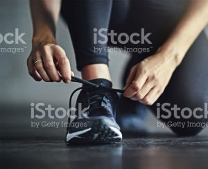 Tying up trainers for run