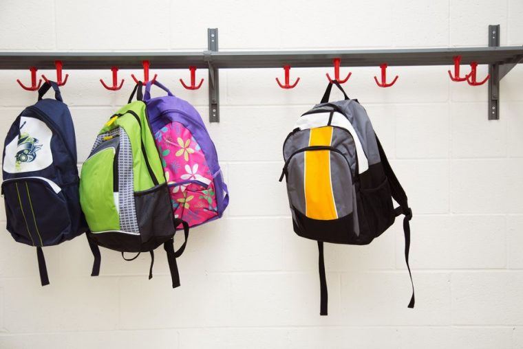 Rucksacks in school cloakroom